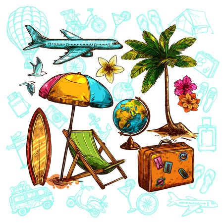 sunshade: Travel sketch set with sunshade globe and palm vector illustration