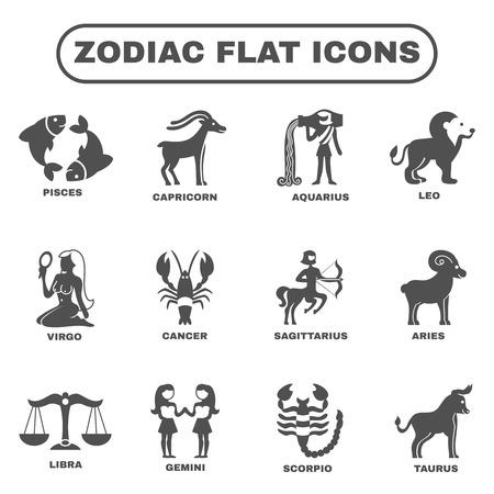 gemini zodiac: Zodiac and horoscope symbols black flat icons set isolated vector illustration