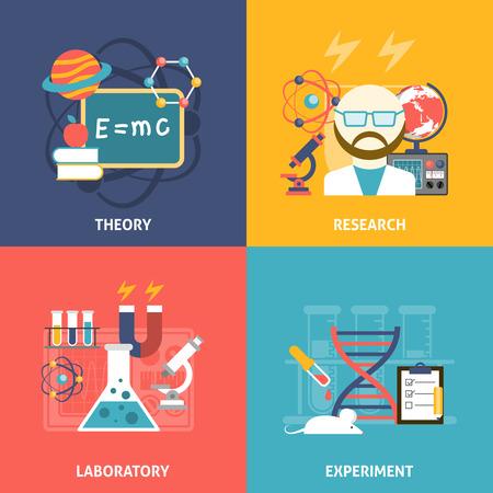 investigación: Laboratorio de investigación de la teoría de la ciencia y experimentar color plano icono decorativo conjunto aislado ilustración vectorial Vectores
