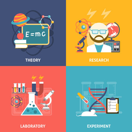 investigation: Science theory research laboratory and experiment flat color decorative icon set isolated vector illustration