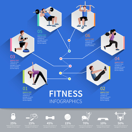 gimnasia aerobica: Hexágono programa de desarrollo de la resistencia aeróbica y muscular Gimnasio pictogramas infografía diseño de presentación diseño abstracto ilustración vectorial