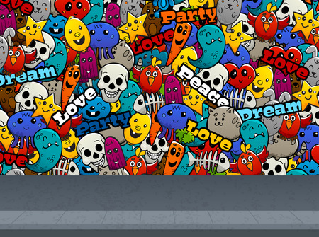Graffiti cartoon abstract characters and peace love text on street wall flat color seamless pattern vector illustration