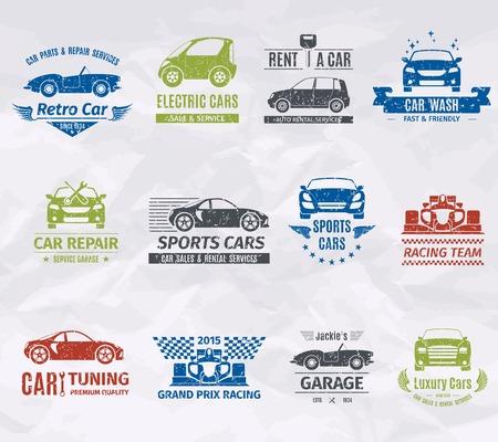Sport racewagen team logo stempels set geïsoleerd vector illustratie