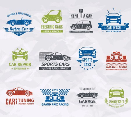 quality service: Sport racing car team logo stamps set isolated vector illustration
