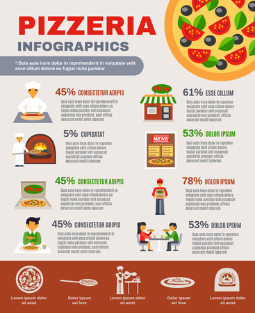 pizza ingredients: Pizzeria with pizza making and delivery infographic set with percentage flat vector illustration