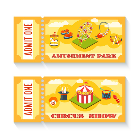 amusement: Two vintage amusement park circus show entrance tickets  templates set with chapiteau tent abstract isolated vector illustration