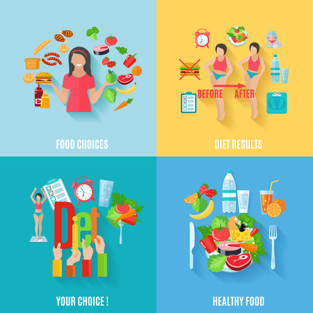 dieta sana: Las opciones saludables antes y después de los resultados de la dieta 4 iconos planos composición de la plaza banner abstracto ilustración vectorial aislado