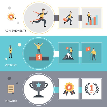 goal achievement: Success horizontal banners set with reward victory and achievement flat elements isolated vector illustration