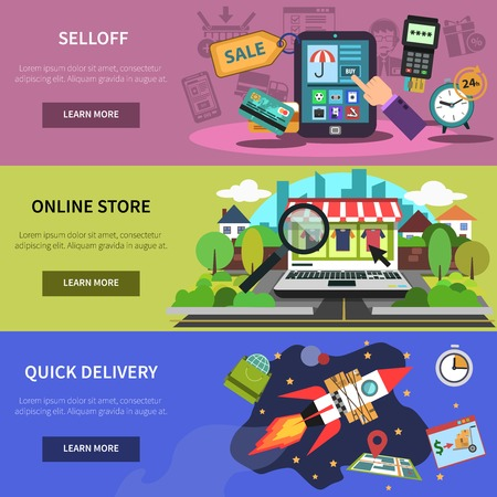 online business: Online banner horizontal set with store quick delivery elements isolated vector illustration Illustration