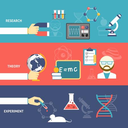 experimento: Investigación de la teoría Ciencia y experimentar con la mano aislado aparatos color plano conjunto de banner horizontal ilustración vectorial