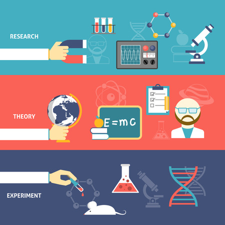 Science theory research and experiment hand with devices flat color horizontal banner set isolated vector illustration