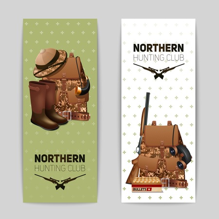 wildlife shooting: Hunting banners vertical set with realistic backpack rifle and hunter boots isolated vector illustration