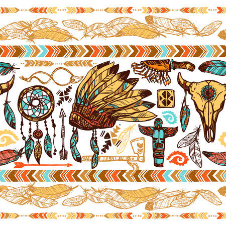 american indian aztec: Native american style feathers ornaments tambourine war bonnet and totems color seamless pattern vector illustration Illustration