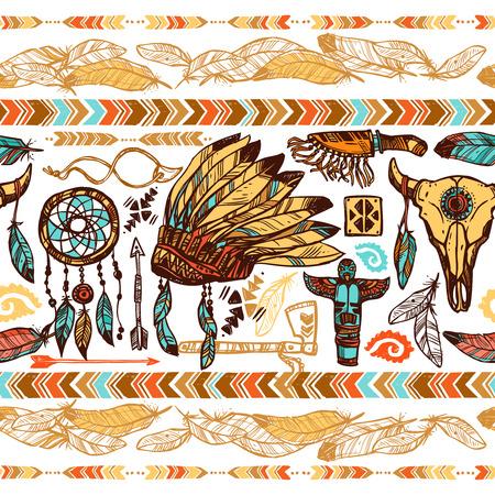 totem indien: Plumes de style native american ornements tambourin bonnet de guerre et totems couleur pattern illustration vectorielle Illustration