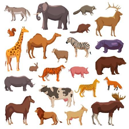 Conjunto de ícones decorativos grandes animais domésticos e agrícolas selvagens ilustração vetorial isolado