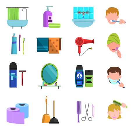 Personal care accessories flat icons set with toothbrush and hair dryer icons collection abstract isolated vector illustration Illustration