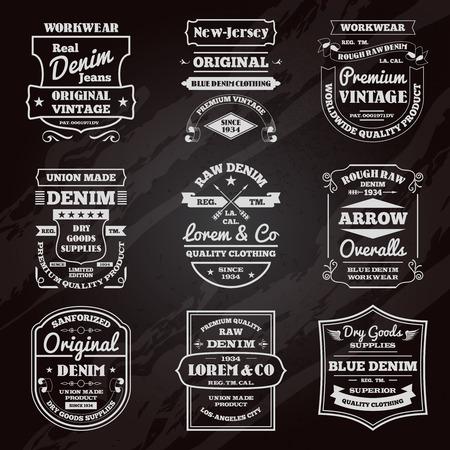 mezclilla: Jeans clásicos pizarrón negro emblemas tipografía edición limitada Iconos del diseño gráfico colección abstracta aislado ilustración vectorial