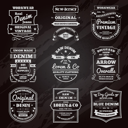 Classical denim jeans black chalkboard typography emblems limited edition graphic design icons collection abstract isolated vector illustration