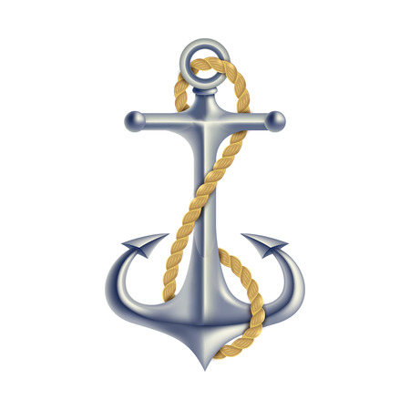 navigation object: Polish steel anchor with twisted rope maritime hope symbol 3d realistic color isolated object vector illustration