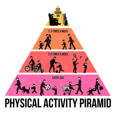 human pyramid: Physical activity infographics with sketch people walking playing and sitting vector illustration