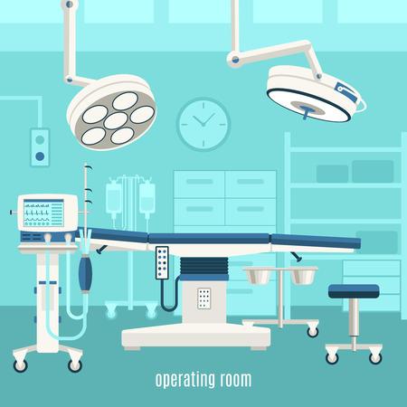 Equipo de la sala Operación médica y accesorios con mesa de tratamiento monitores y cirugía mayor luz ilustración vectorial abstracto Ilustración de vector