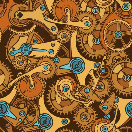 industrial decor: Sketch cogwheel gears mechanisms industrial engineers colored seamless pattern vector illustration