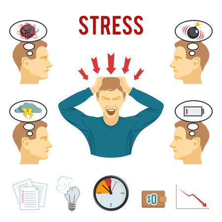 work stress: Mental health disorders and work related stress anxiety and depression symptoms icons set abstract isolated vector illustration Illustration