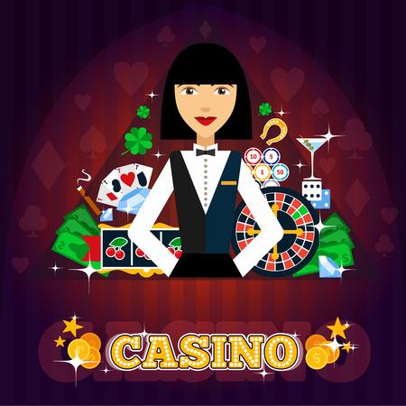 tragamonedas: Casino concepto distribuidor con cóctel tarjetas de ruleta y trébol ilustración vectorial plana