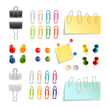 memo board: Paper clips binders and pins white black and colored 3d object set isolated vector illustration Illustration