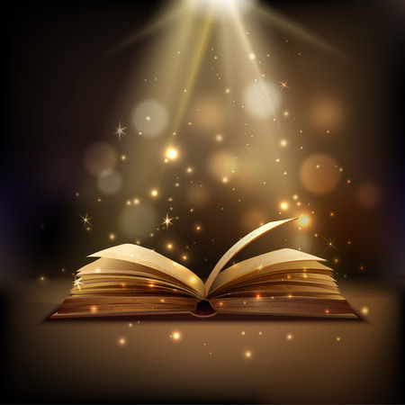 Otevřená kniha s mystickou jasným světlem na pozadí Kouzlo plakátu vektorové ilustrace