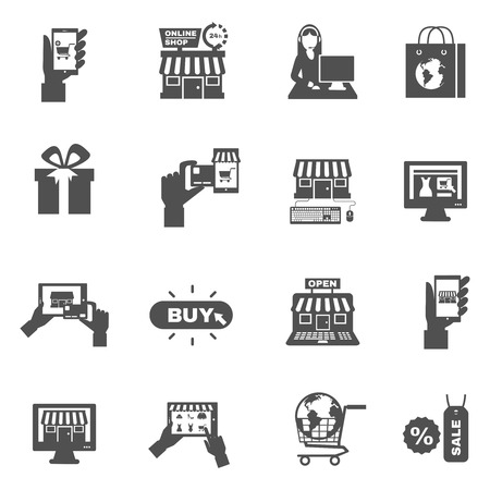 web shopping: Internet sale web store shopping and delivery flat black silhouette icon set isolated vector illustration
