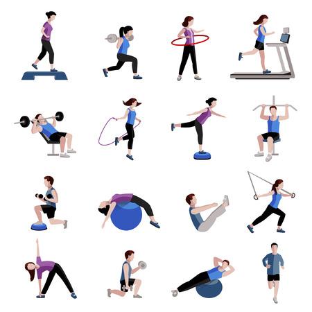fitness hombres: Ejercicio de la aptitud cardiovascular y equipos para hombres mujeres aislado dos tintes plana colecciones iconos abstracta ilustraci�n vectorial