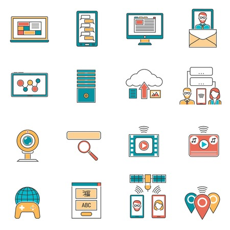 users video: It and online communication icons line set isolated vector illustration