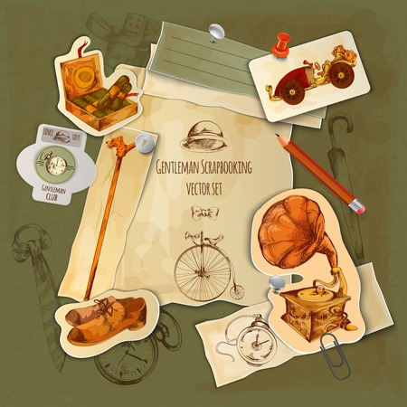 flyer background: Gentlemen paper scrapbooking set with vintage sketch accessories vector illustration Illustration