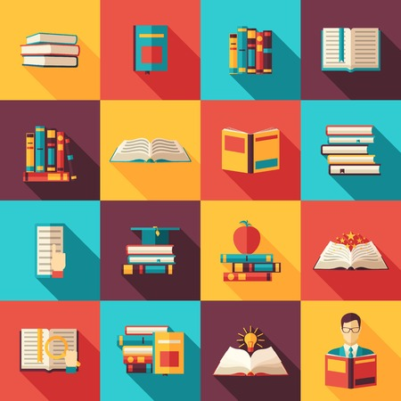 sapience: Library book volume set search and reading flat color long shadow icon set isolated vector illustration