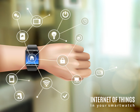 internet symbol: Internet of things in smart wrist multimedia watch gadget on hand realistic color concept vector illustration Illustration