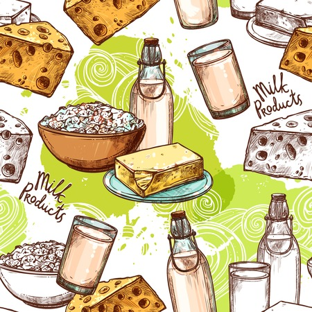 cream cheese: Milk seamless pattern with sketch healthy dairy products vector illustration