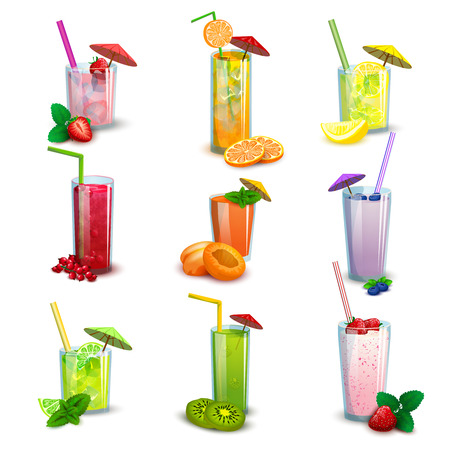 vaso de leche: Las mejores gafas largos de verano fruta fresca bebidas cócteles y batidos iconos planos conjunto abstracto aislado ilustración vectorial