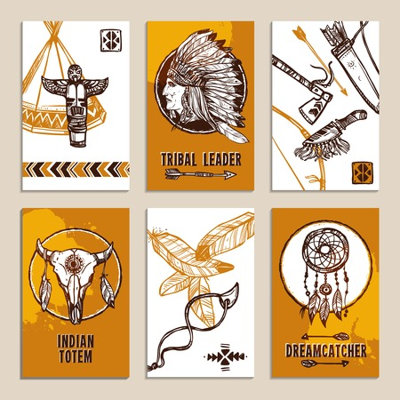 native american tomahawk: Ethnic paper cards set with sketch tribal and indian elements isolated vector illustration Illustration