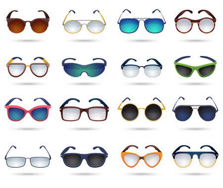 mirror reflection: Colorful modern sunglasses square round cat eyes pictograms collection with mirror reflection effect abstract isolated vector illustration Illustration