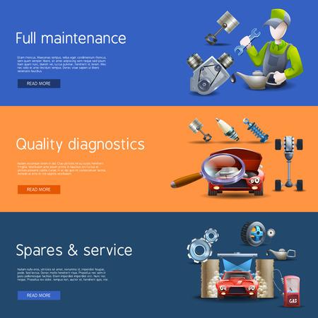 repuestos de carros: Reparación de automóviles y diagnóstico de dibujos animados banners horizontales establecidas con lavado y gas aislado ilustración vectorial Vectores