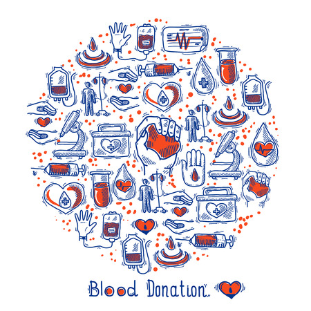 blood: Donor blood donation sketch decorative icons set in circle shape vector illustration