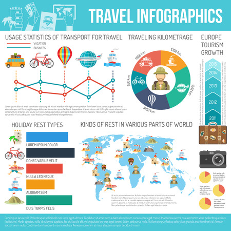 repose: Travel transport kilometrage rest types part of world statistic and grows flat color infographic vector illustration