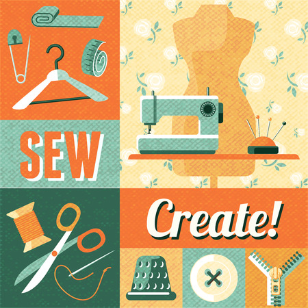 iron curtains: Vintage home sewing do it yourself craft decorative poster with tailor scissors and mannequin abstract vector illustration
