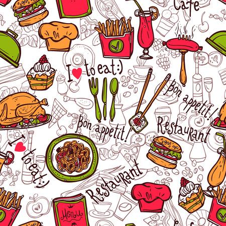 Bar cafetería de comida rápida papas fritas hamburguesa símbolos modelo papel restaurante envoltura perfecta del bosquejo del Doodle ilustración vectorial abstracto Foto de archivo - 43210383