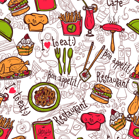 fast food restaurant: Cafe bar fast food hamburger chips symbols seamless restaurant wrap paper pattern doodle sketch abstract vector illustration