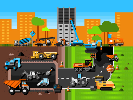 truck road: Construction machines and industry composition with excavator crane and mining in city flat vector illustration