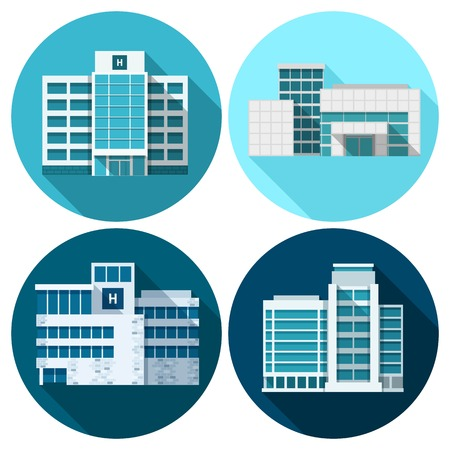 Hospital and medical first care building flat icons set isolated vector illustration