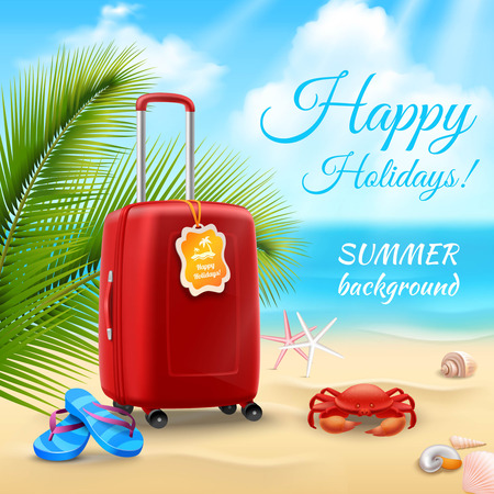 suitcase: Summer vacation background with realistic suitcase on tropical beach vector illustration