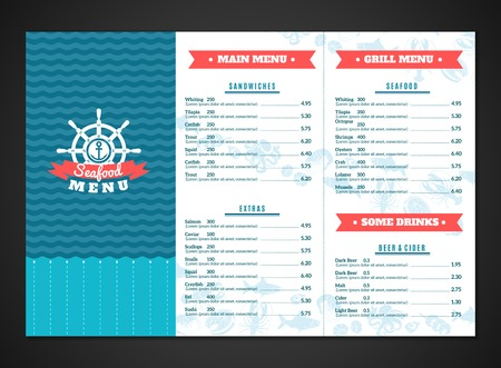Seafood restaurant menu template with fish and sea animals dishes vector illustration Illustration